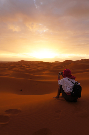 Beautiful morning at Sahara desert, Morocco,Northern Africa Stock Photo