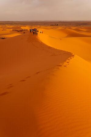 Sand dunes at sunrise in Sahara desert,Morocco