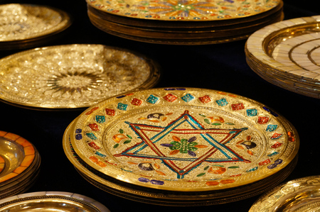 traditional crafts  plate  in the medina of Fez,Morocco