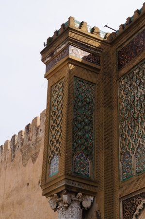 bab: Beautiful detail of Bab el-Mansour gate decorated with  zellij  mosaic ceramic tiles  Stock Photo