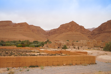 Kasbah in Morocco near Sahara desert,Northern Africa photo