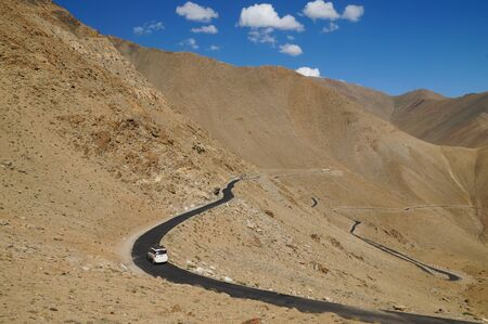 plains indian: The road in himalayas mountain,Ladakh,Northern India Stock Photo