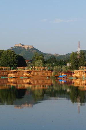 Beautiful houseboats at Dal Lake, in Srinagar, Kashmir, India