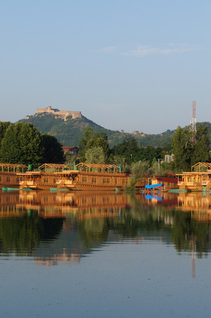 Beautiful houseboats at Dal Lake, in Srinagar, Kashmir, India