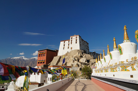 gompa: Buddhist stupas at Thiksey Monastery in Leh,Ladakh,Northern India