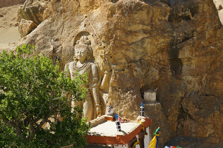 dalai: Striking enormous figure carved into the rock face of Maitreya Buddha at Mulbekh Monastory,Ladakh,India