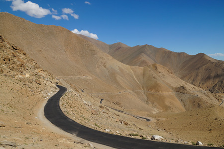 plains indian: The way from Hundra Desert to Leh in Ladakh,Northern India Stock Photo
