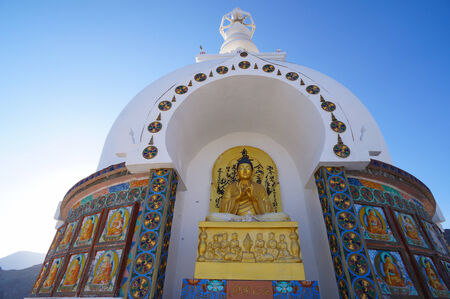 shanti: Buddha statue at Shanti Stupa in Leh,Ladakh,Northern India