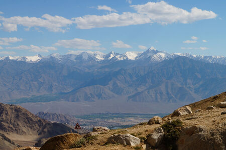plains indian: Beautiful view of  Himalayas mountain on the way back to Leh ,Ladakh,Northern India Stock Photo