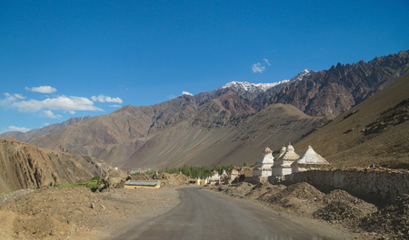 White stupas on the way to Alchi Monastery in Ladakh,Northern India Stock Photo