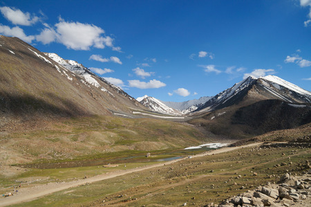 Road from Khardungla to Nubra Valley in Ladakh,Northern India photo