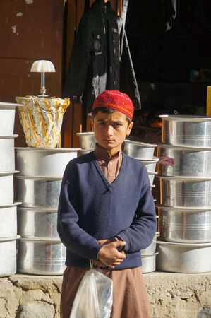 pakistani pakistan: A Pakistani boy wearing traditional clothing near Chilas,Northern Pakistan