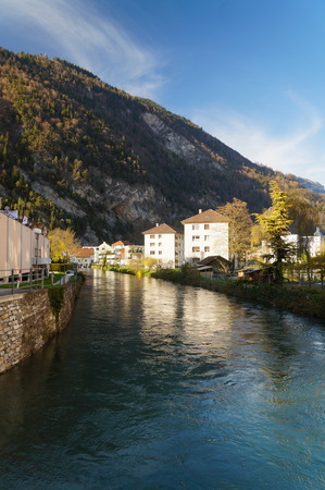 green ridge: Beautiful view of the river and the house in Interlaken, Switzerland Stock Photo