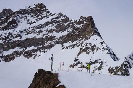 jungfraujoch: Trail on Jungfraujoch pass in Alps in Switzerland. Stock Photo