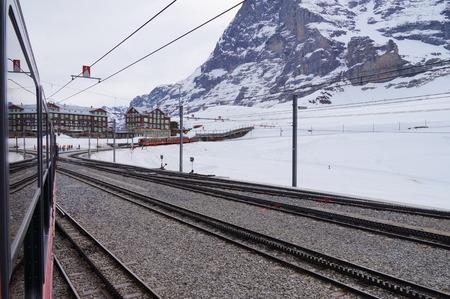 metre: The Jungfrau railway is a metre gauge rack railway which runs 9 km from Kleine Scheidegg to the highest railway station in Europe at Jungfraujoch.