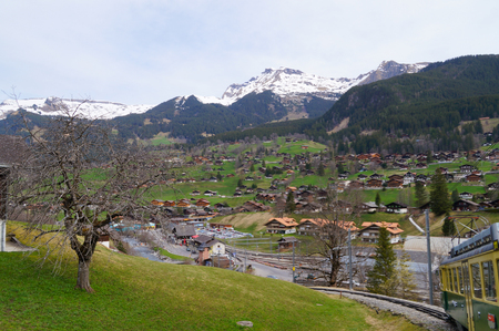 eiger: Lauterbrunnen in Switzerland. The town is a popular tourist destination for access to the Eiger and Jungfrau