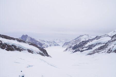 aletsch: Aletsch glacier view from the Jungfraujoch in Switzerland Stock Photo