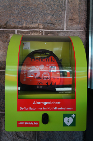 Automated External Defibrillator at  train station in St.Moritz,Switzerland Editorial