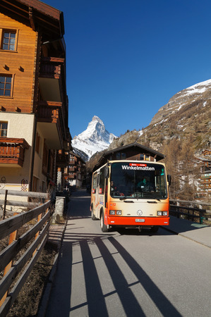 pollution free: The bus in Zermatt,Switzerland. To prevent air pollution the entire town of Zermatt is a combustion-engine car-free zone. Editorial