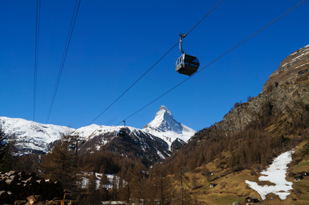 cable car: Glacier Paradise cable car passing the Matterhorn at Switzerland