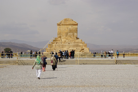 cyrus: Pasargad,Iran - October 28,2015:Unknown tousists walking to visit Tomb of Cyrus the Great, Pasargad in  Iran. Editorial