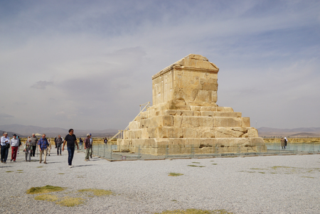 cyrus: Pasargad,Iran - October 28,2015:Unknown tousists visiting Tomb of Cyrus the Great, Pasargad in  Iran.