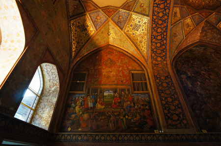 receptions: Interior of the Chehel Sotoun Palace in Isfahan,Iran. Chehel sotoun was built in 1646 by Shah Abbas II to be used for his entertainment and receptions.