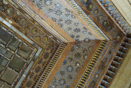 receptions: Beautiful ceiling of Chehel Sotoun Palace in Isfahan,Iran.Chehel Sotoun Palace is a pavilion that was built by Shah Abbas II to be used for his entertainment and receptions. Editorial