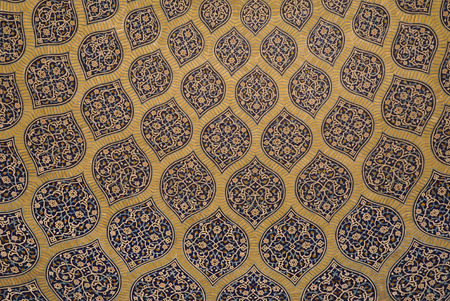 seventeenth: Interior of the dome of Lotfollah Mosque in Isfahan, Iran. Lotfollah Mosque was built as a private mosque of the royal court in Seventeenth century.