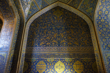 passageway: Interior and passageway of Sheikh Lotfollah Mosque at Naqhsh-e Jahan Square in Isfahan, Iran . Construction of the mosque was finished in 1618.