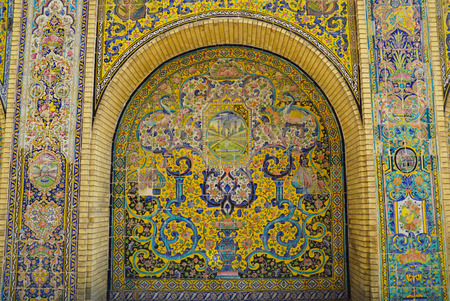Beautiful ceramic tile wall of Golestan Palace,Tehran,Iran.