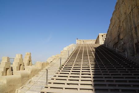 stoop: Terrace Stairway of the old city Persepolis in Iran.