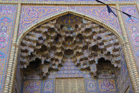 Nasir al-Mulk moskee is een traditionele moskee in Shiraz, Iran. Het staat bekend als de Masjed-e Naseer ol Molk. Stockfoto