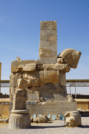 engraver: Persian Bull Column Capital, Persepolis, Iran Stock Photo