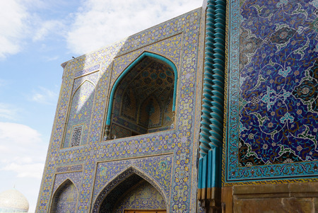 Beautiful exterior of Imam Mosque at Naghsh-e Jahan Square in Isfahan, Iran.