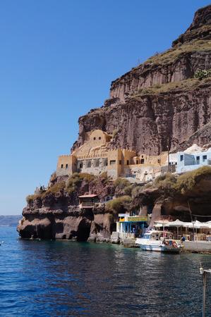 fira: Santorini Cruise Port in Fira, the capital of Santorini,Greece.