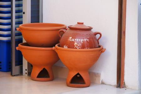 greek pot: Traditional Greek  pottery decoration at Santorini,Greece.