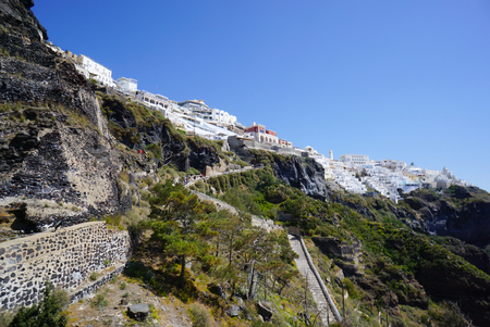 thira: Road from thira to pier at Santorini Island in Greece.