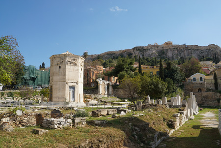 bath house: Tower of the Winds or Bath house of the winds Acropolis in background, Athens, Greece. Stock Photo