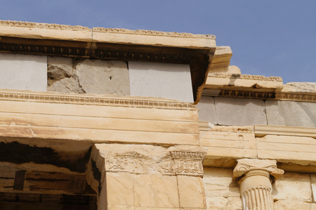 ionic: Detail from the Erechteion, Acropolis, Athens, Greece. A column capital of the Ionic order. Stock Photo