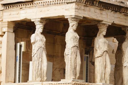 Caryatides of  Erechtheion at Acropolis in Athens, Greece,Europe. Banco de Imagens