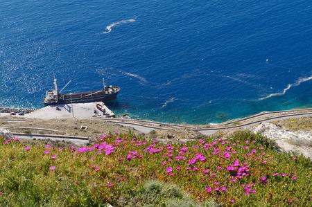 santorini greece: Beautiful view near Red beach in Santorini,Greece. Stock Photo