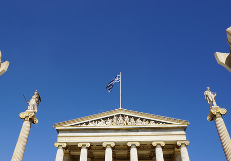 national poet: Athena and Apollo statue at the main entrance of the Academy of Athens, Greece.
