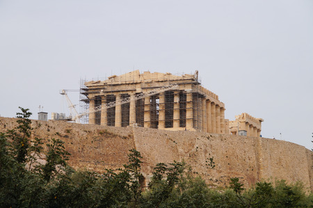 restoring: Beautiful Acropolis in spring, Athens, Greece.
