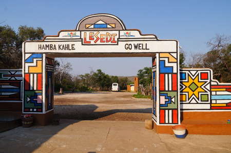 gauteng: Lesedi Cultural Village, South Africa - 20 October 2016:Main entrance of Lesedi Cultural Village (unique center, cradle of living African culture) in South Africa.