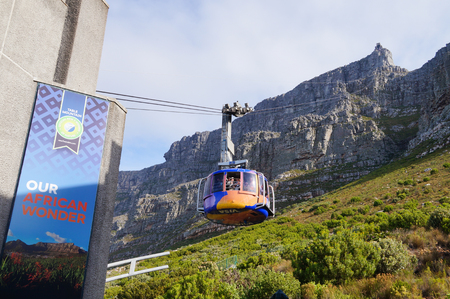 table mountain national park: Cape Town,South Africa - 21 Octobdr 2016: Table mountain view with cable car in Cape Town,South Africa . Editorial