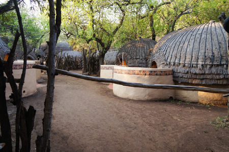 Tribal straw houses in the village, South Africa.