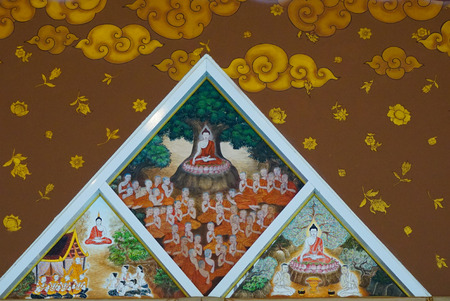 Traditional Thai style painting art on temple wall in Thailand