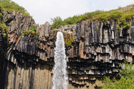 Svartifoss waterval omgeven door donkere lava kolommen in IJsland