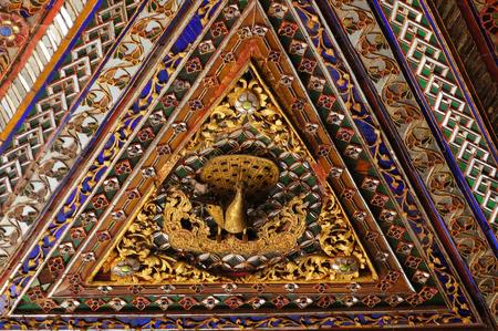Beautiful ceiling of  Wat Phra Kaew Don Tao, Lampang, Northern Thailand.